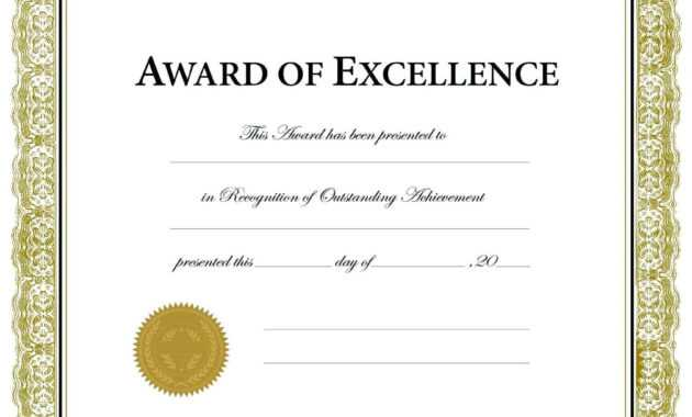 8 Certificate Of Achievement Template Word Free Printable pertaining to Blank Award Certificate Templates Word