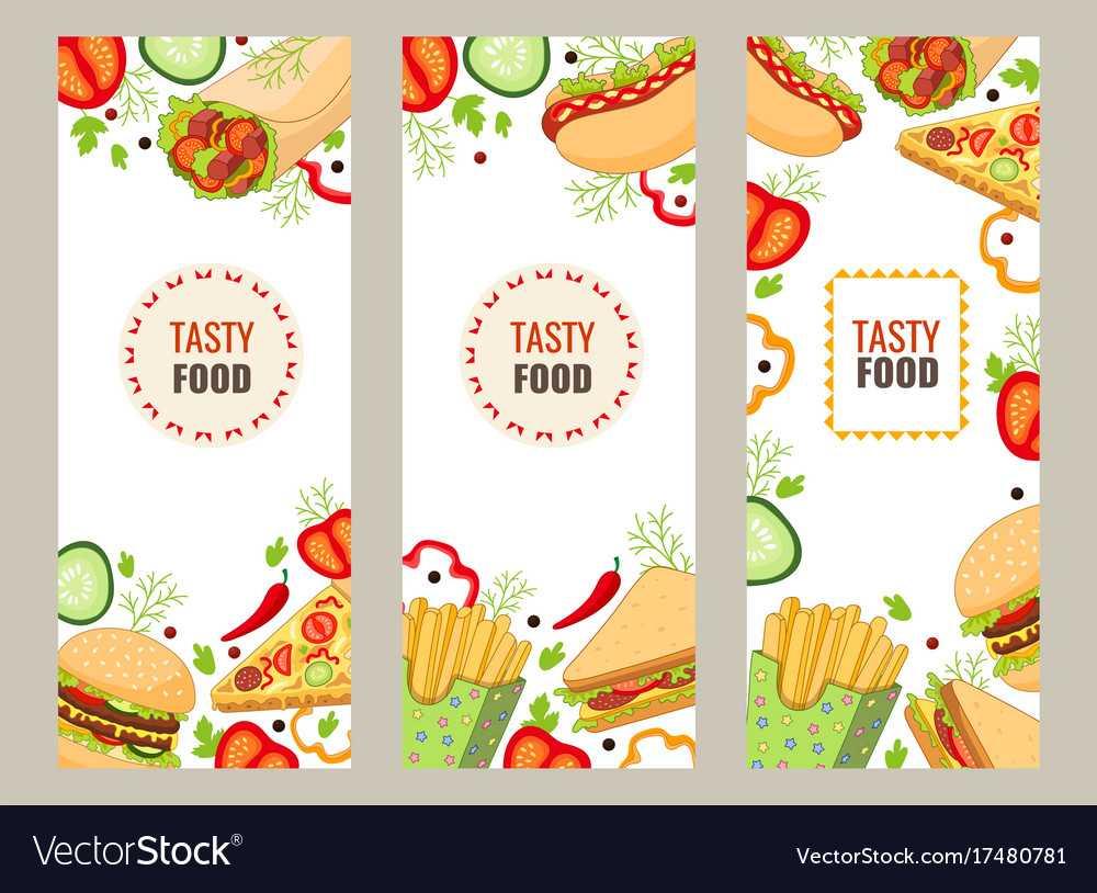 Cartoon Flat Fast Food Banner Template Set Intended For Food Banner Template