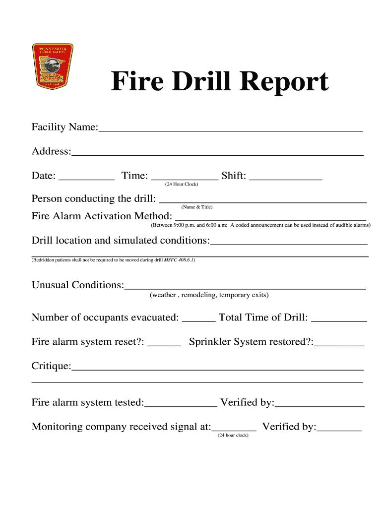 Fire Drill Report Template Uk - Fill Online, Printable For Emergency Drill Report Template