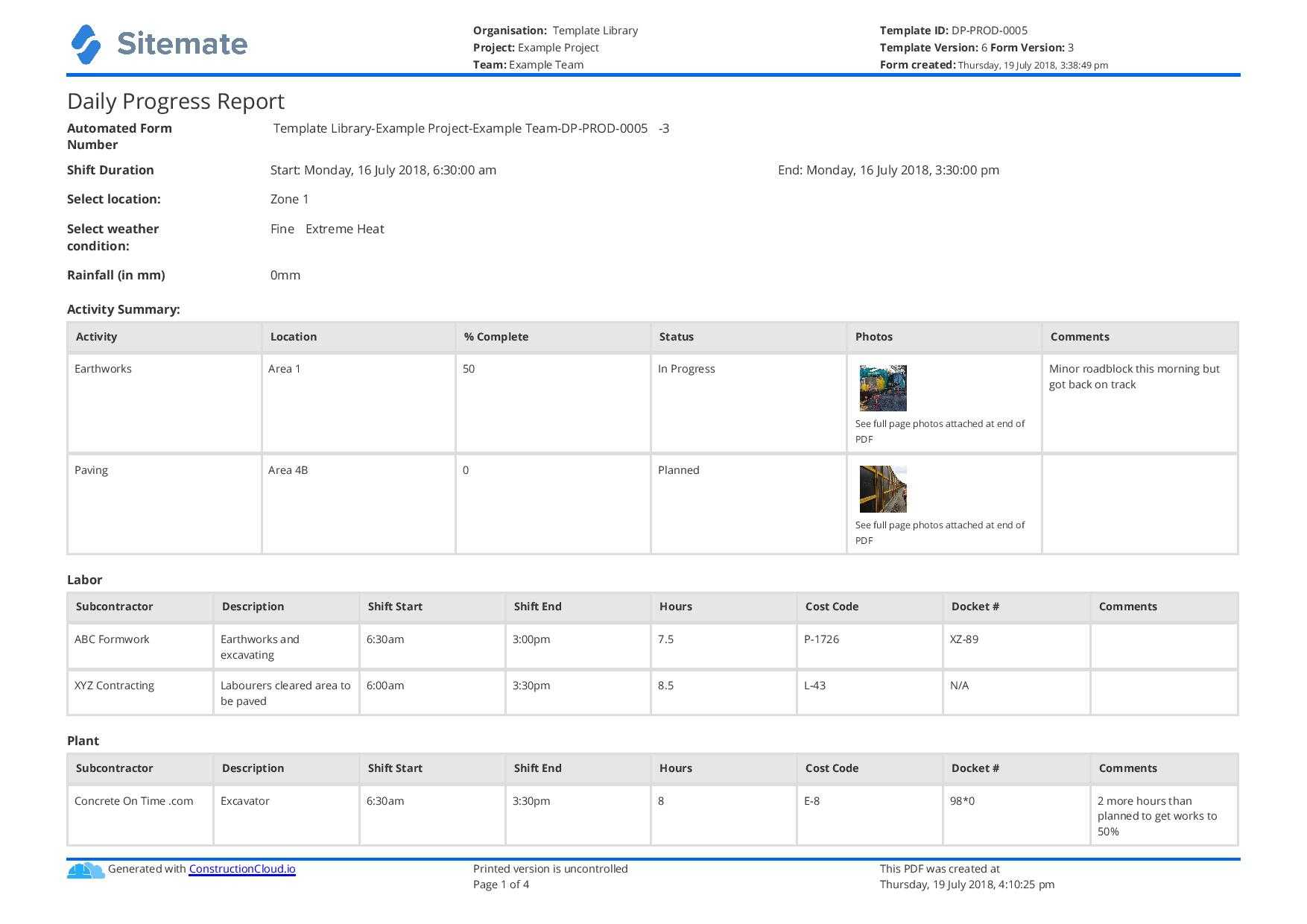 Free Construction Daily Report Template (Better Than Pdf In Production Status Report Template