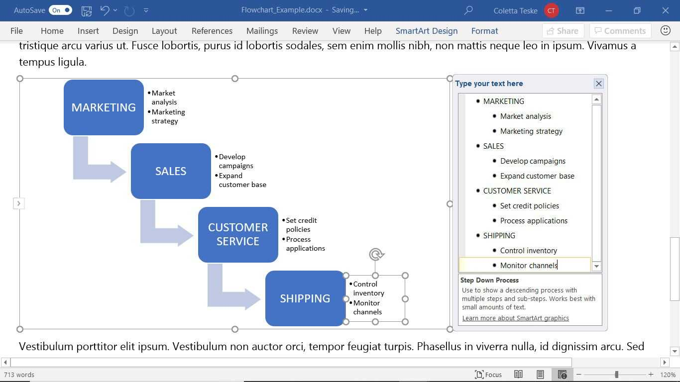 How To Create A Microsoft Word Flowchart In Microsoft Word Flowchart Template