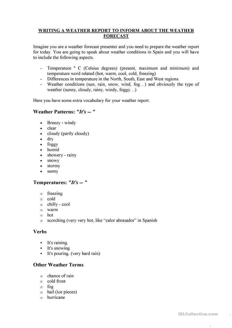 How To Write A Weather Report - English Esl Worksheets Intended For Kids Weather Report Template
