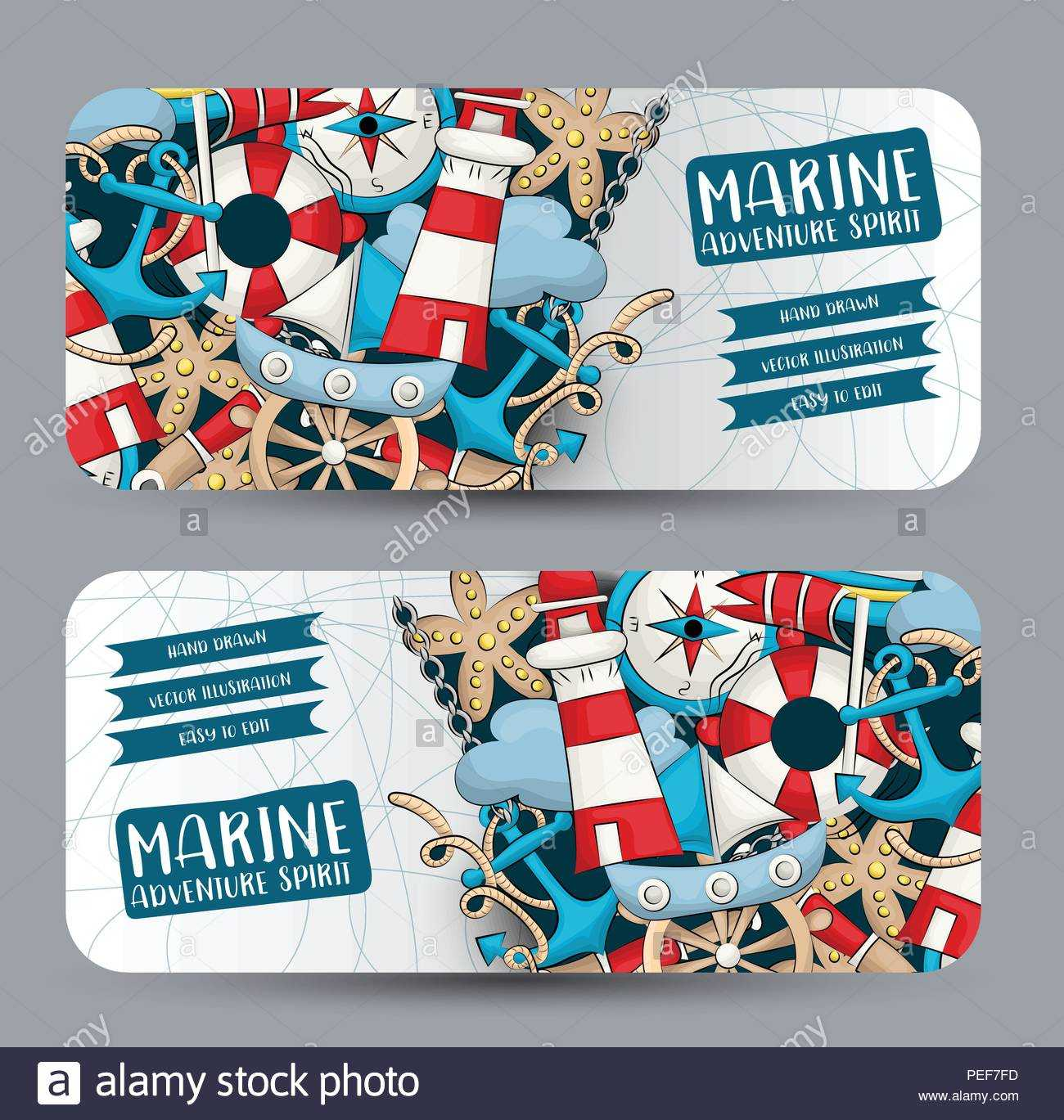 Marine Nautical Travel Concept. Horizontal Banner Template With Nautical Banner Template