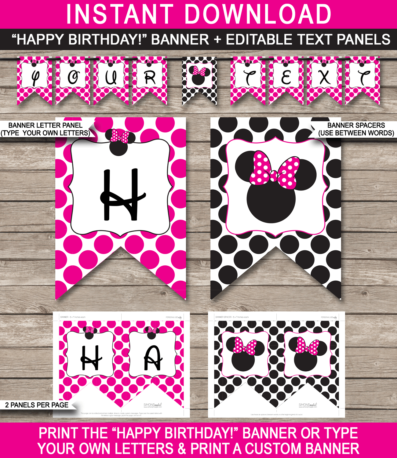 Minnie Mouse Party Banner Template – Pink For Free Printable Banner Templates For Word