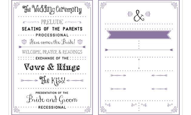 Printable Wedding Programs Free - Milas.westernscandinavia inside Free Printable Wedding Program Templates Word