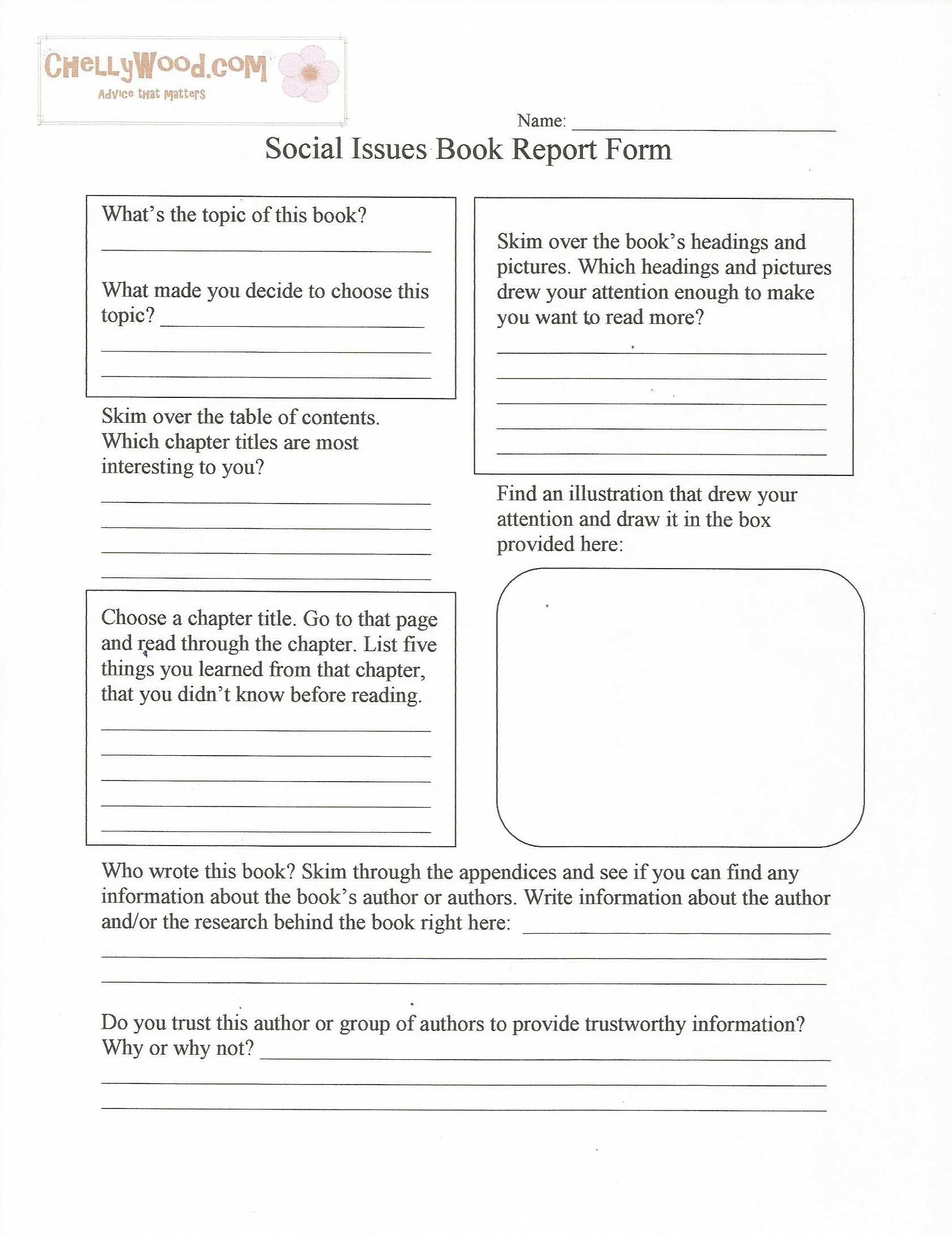 Social Issues Nonfiction Book Report Form–Free Printable With Regard To Nonfiction Book Report Template
